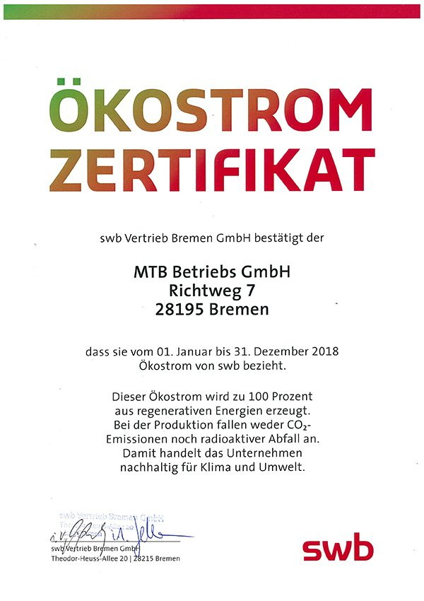 Ökostrom Zertifikat © Metropol Theater Bremen