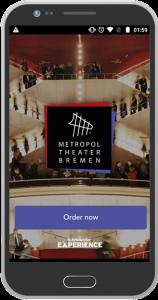 Bild Androind mit Screenshot Bestellprozess Gastronomie | Metropol Theater Bremen