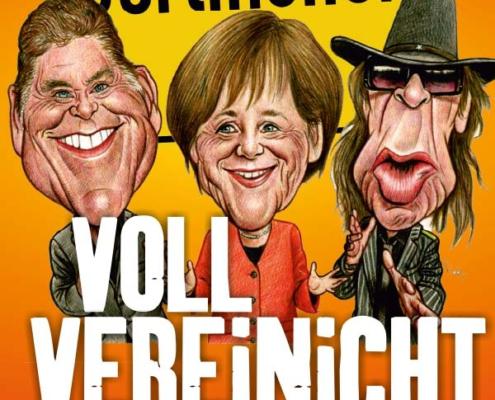 """Plakatmotiv für VOLL VEREiNiCHT Das Satire-Musical """"mit"""" Angela Merkel, Udo Lindenberg und David Hasslehoff im Metropol Theater Bremen"""